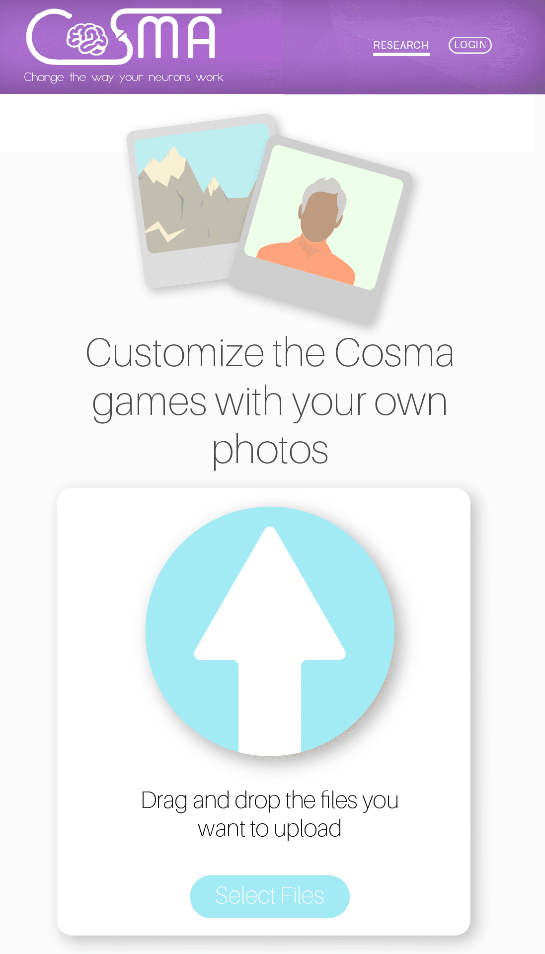 Personalise COSMA – Upload your own photos, images and memories